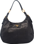 """Luxury Accessories:Bags, Prada Black Soft Calfskin Small Hobo Shoulder Bag. Condition: 3.13"""" Width x 10"""" Height x 5"""" Depth. Property of a Lady. ..."""