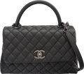 Luxury Accessories:Bags, Chanel Black Caviar Leather Coco Handle Bag...