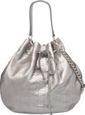 """Luxury Accessories:Bags, Ralph Lauren Metallic Silver Python Drawstring Shoulder Bag withRemovable Straps. Condition: 3. 13"""" Width x 14""""Heigh..."""