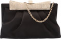 Luxury Accessories:Bags, Valentino Black Satin and Crystals Evening Bag...