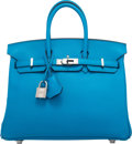 Luxury Accessories:Bags, Hermes 25cm Blue Zanzibar Swift Leather Birkin Bag with PalladiumHardware. A, 2017. Condition: 1