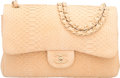 "Luxury Accessories:Bags, Chanel Beige Sueded Python Jumbo Double Flap Bag with Matte Gold Hardware. Condition: 2. 12"" Width x 8"" Height x 3"" De..."