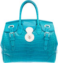 Luxury Accessories:Bags, Ralph Lauren Shiny Turquoise Blue Alligator Ricky Bag