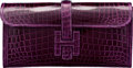 Luxury Accessories:Bags, Hermes Shiny Amethyst Nilo Crocodile Jige Elan Clutch Bag. RSquare, 2014 . Condition: 1