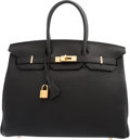 "Luxury Accessories:Bags, Hermes 35cm Black Togo Leather Birkin Bag with Gold Hardware. M Square, 2009. Condition: 3. 14"" Width x 10"" Height..."