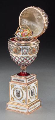 A Large Fabergé-Style 14K Vari-Color Gold, Diamond, Garnet, and Enamel Standing Egg with Floral Basket Surprise...