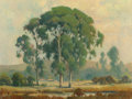 Fine Art - Painting, American, Percy Gray (American, 1869-1952). Eucalyptus in the GoldenHour. Oil on canvasboard. 12 x 16 inches (30.5 x 40.6 cm).Si...