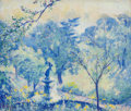 Fine Art - Painting, American, Theodore Earl Butler (American, 1861-1936). Bethesda Fountain,Central Park, New York, 1915. Oil on canvas. 24 x 28 inch...