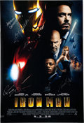 Memorabilia:Movie-Related, Iron Man Movie Poster Signed by Robert Downey Jr, Samuel L.Jackson, and Jon Favreau (Marvel Studios, 2008) One-Sheet ...
