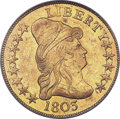 Early Eagles, 1803 $10 Small Reverse Stars, BD-3, R.4, MS61 PCGS. CAC....