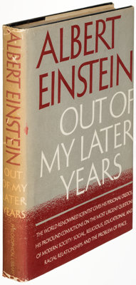 Albert Einstein. Out of My Later Years. New York: Philosophical Library, [1950]. First edition