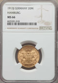 German States:Hamburg, German States: Hamburg. Republic gold 20 Mark 1913-J MS66 NGC,...
