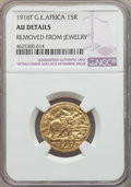 German East Africa, German East Africa: German Colony. Wilhelm II gold 15 Rupien 1916-T AU Details (Removed From Jewelry) NGC,...
