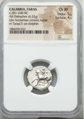 Ancients:Greek, Ancients: CALABRIA. Tarentum. Ca. 272-240 BC. AR stater or didrachm(6.52 gm). NGC Choice XF 5/5 - 4/5....