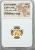 Ancients:Byzantine, Ancients: Heraclius (AD 610-641) and Heraclius Constantine (AD613-641). AV solidus (4.46 gm). NGC MS 3/5 - 5/5....