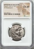 Ancients:Greek, Ancients: MACEDONIAN KINGDOM. Philip III Arrhidaeus (323-317 BC).AR tetradrachm. NGC Choice XF....