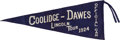 Political:Textile Display (1896-present), Calvin Coolidge: Large Lincoln Tour Pennant....