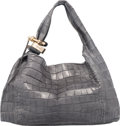 "Luxury Accessories:Bags, Jimmy Choo Gray Alligator Saba Hobo Bag. Condition: 4. 18"" Widthx 12"" Height x 6"" Depth. ..."