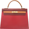 Luxury Accessories:Bags, Hermes 32cm Limited Edition Tri-Color Rouge Vif & Rouge H ...