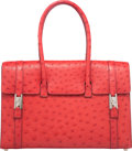 """Luxury Accessories:Bags, Hermes 32cm Rouge Vif Ostrich Drag Bag with Palladium Hardware. F Square, 2002. Condition: 3. 12.5"""" Width x 8.25"""" ..."""