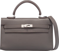 Hermes Micro Etain Swift Leather Tiny Kelly Bag with Palladium Hardware O Square, 2011 Condition: