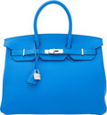 "Luxury Accessories:Bags, Hermes 35cm Blue Hydra Clemence Leather Birkin Bag with PalladiumHardware. Q Square, 2013. Condition: 2. 14""Widt..."