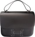 Luxury Accessories:Bags, Hermes 29cm Black Calf Box Leather Double Gusset Constance CartableBag with Palladium Hardware. R Square, 2014. Condi...