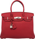 "Luxury Accessories:Bags, Hermes 30cm Rouge Garance Togo Leather Birkin Bag with PalladiumHardware. M Square, 2009. Condition: 2. 12""..."