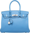 "Luxury Accessories:Bags, Hermes 30cm Blue Paradis Togo Leather Birkin Bag with PalladiumHardware. R Square, 2014. Condition: 2. 12"" Width..."