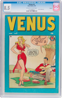 Venus #5 Okajima Pedigree (Timely, 1949) CGC VF+ 8.5 Off-white to white pages