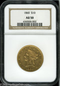 Liberty Eagles: , 1860 $10 AU50 NGC. Generally light in color with average or betterdefinition for this challenging No Motto issue. Abrasion...