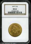 Liberty Eagles: , 1879 $10 MS62 NGC. Although minted in fairly substantial numbers,the '79-P eagle is not often seen in better Mint State gr...
