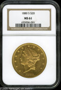 Liberty Double Eagles: , 1880-S $20 MS61 NGC. Just a hint of scuffiness puts a damper ofsubtly reflective surfaces. The strike is predictably sharp...