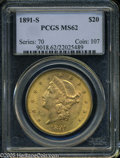 Liberty Double Eagles: , 1891-S $20 MS62 PCGS. The '91-S is one of the more availableS-mints from this decade, and is regularly available in the lo...