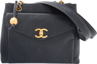 """Chanel Navy Blue Caviar Leather Classic Flap Tote Bag Condition: 4 12"""" Width x 9"""" Height x 4"""" Depth&l..."""