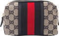 Art Glass:Daum, Gucci Blue Monogram Canvas and Leather Small Cosmetic Pouc...