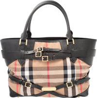 """Burberry Brown Leather and Nova Check Canvas Belt Tote Bag Condition: 4 13.5"""" Width x 10"""" Height x 5.5"""" D..."""