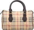 "Luxury Accessories:Bags, Burberry Beige Nova Check Leather Boston Bag. Condition: 2.12.5"" Width x 8"" Height x 6.5"" Depth"