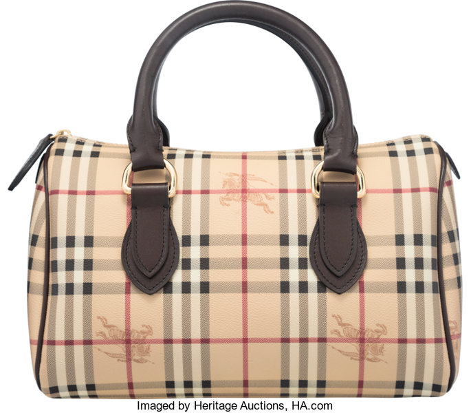 eb121997d42d Burberry Beige Nova Check Leather Boston Bag. Condition  2. 12.5 ...