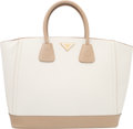 Luxury Accessories:Bags, Prada Off-White and Beige Saffiano Leather Large Tote Bag