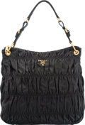 """Luxury Accessories:Bags, Prada Black Nappa Leather Large Gaufre Shoulder Bag. Condition:3. 15"""" Width x 14"""" Height x 4"""" Depth. Proper..."""