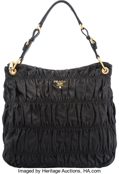 Condition  Luxury Accessories Bags, Prada Black Nappa Leather Large Gaufre  Shoulder Bag. 5e6bc48a20