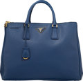 "Luxury Accessories:Bags, Prada Blue Leather Saffiano Lux Double Zip Tote. Condition:4. 14.5"" Width x 13.5"" Height x 6"" Depth. ..."