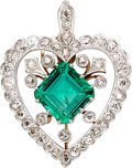 Estate Jewelry:Pendants and Lockets, Colombian Emerald, Diamond, Platinum-Topped Gold Pendant. ...