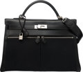 Luxury Accessories:Bags, Hermes 40cm Black Calf Box Leather & Toile Officier CanvasKelly Lakis Bag with Palladium Hardware. H Square, 2004.Co...