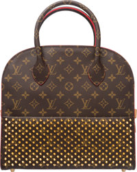 Louis Vuitton Limited Edition Christian Louboutin Red Ponyhair Studded Tote Bag Condition: 3 12""