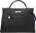 "Luxury Accessories:Bags, Hermes 40cm Black Togo Leather Kelly Bag with Palladium Hardware.N Square, 2010. Condition: 3. 15.5"" Width ..."