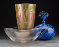 Art Glass:Other , Three Various Art Glass Items, 20th century. Marks: (various). 12inches high (30.5 cm) (tallest). ... (Total: 4 Items)