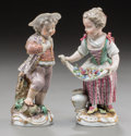Ceramics & Porcelain, Continental:Other , Two Meissen Porcelain Male and Female Figures, Meissen, Germany,19th century. Marks: (crossed swords), (star), (hash marks)...(Total: 2 Items)