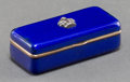 Decorative Arts, Continental:Other , A Small Fabergé-Style 14K Gold, Silver, Diamond, and Enamel PillBox, 20th century. Marks: 88, 56. 1/2 h x 1-1/2 w x 5/8...